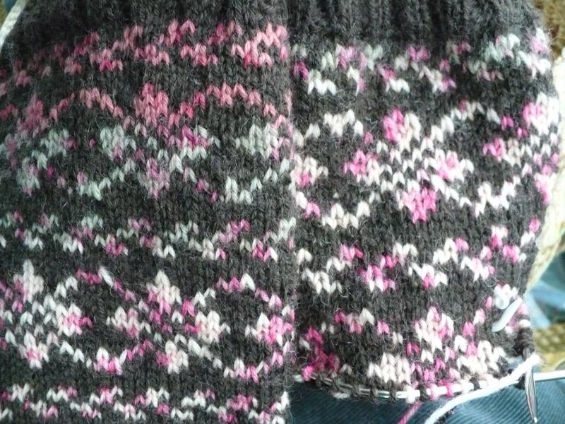 Pink and brown fair isle socks