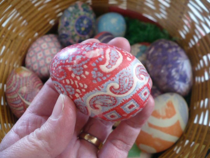 Red and aqua egg
