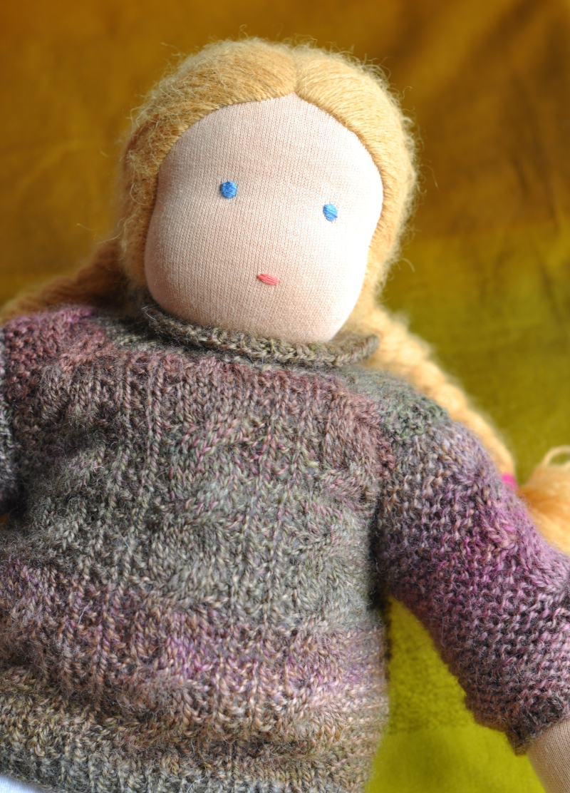 Doll sweater modeled