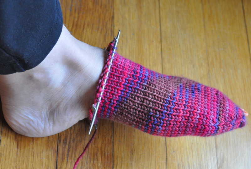 Vacation knitting toe up sock