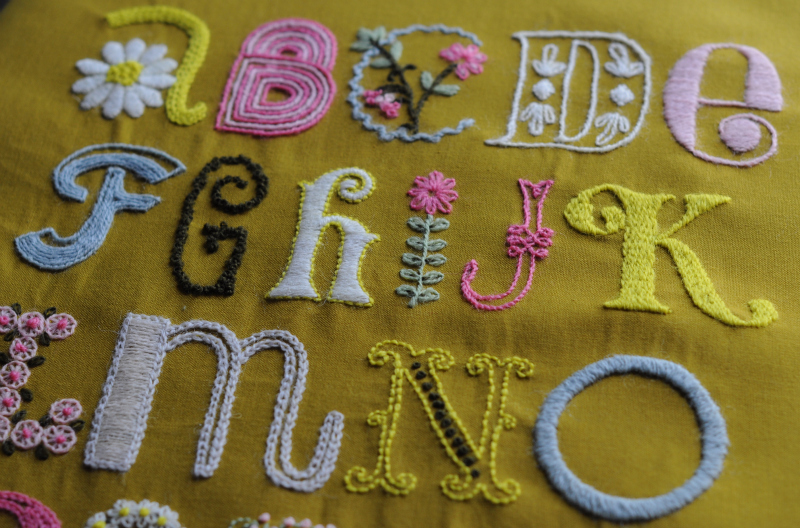 ive stitched the letters from a to z in the crewel wool that came with the kit i had never embroidered with wool yarn and i really like the results
