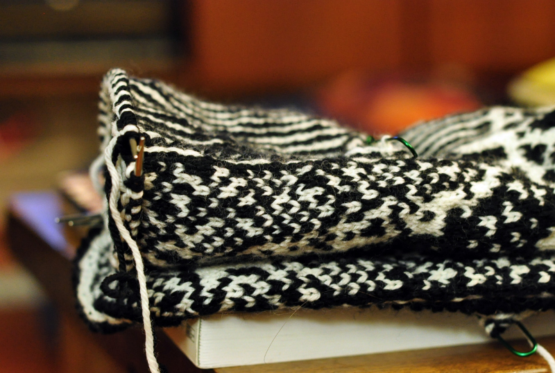 Black and white knitting