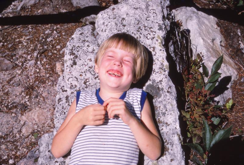 Lynn on a rock