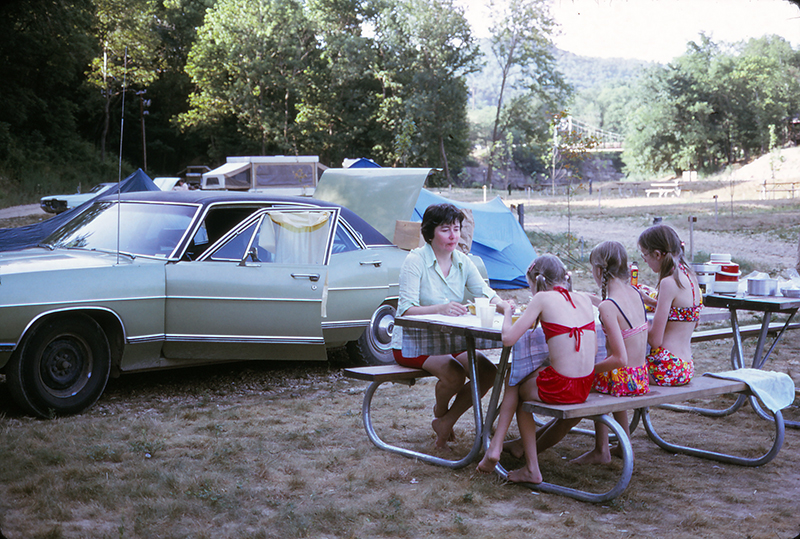 Camping with car 1974