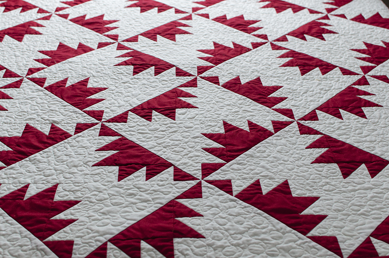 Red and white quilted