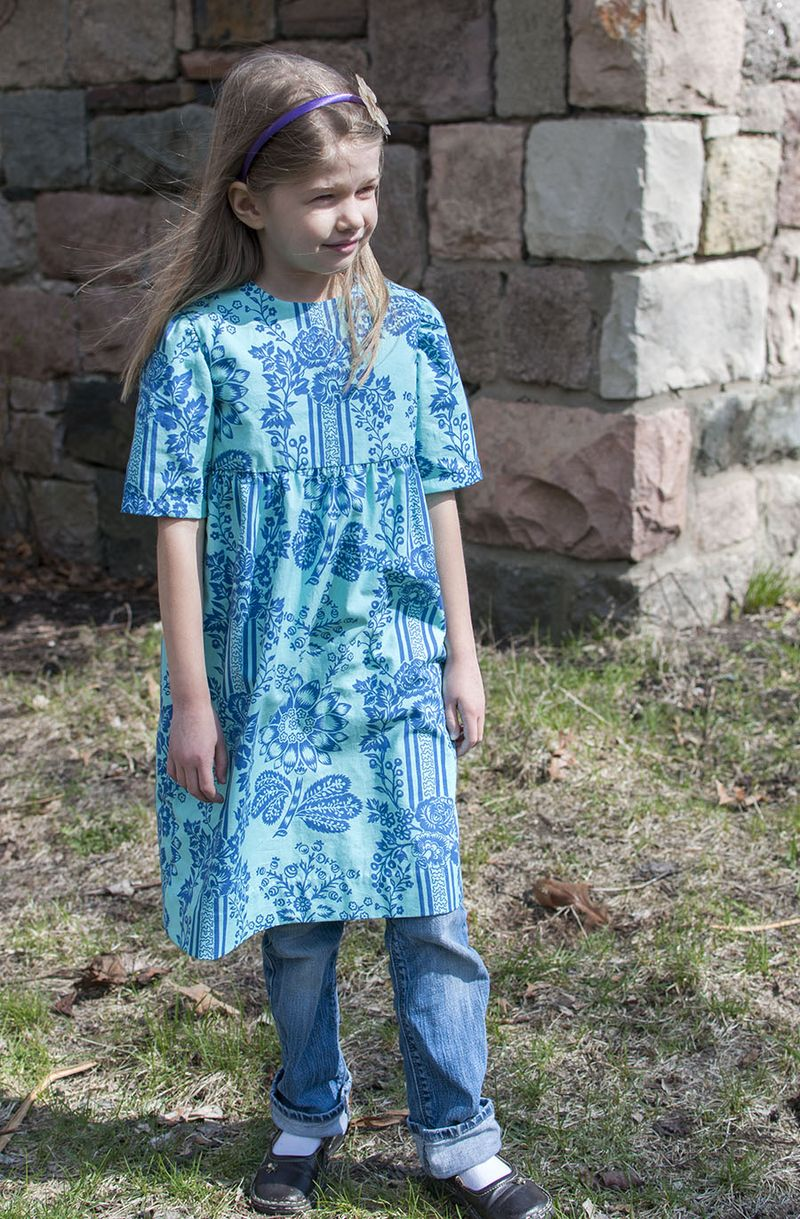 Blue garden dress with jeans