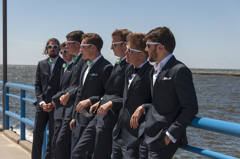 Wedding - guys on the pier