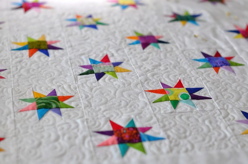 Heavier quilting on the stars